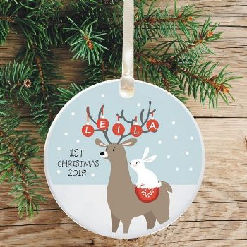 Ceramic Keepsake Baby's 1st Christmas Tree Decoration - Reindeer and Rabbit Design